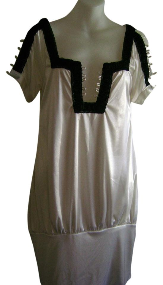 Aziz Shiny White And Black Party Girls Club Wear Knee Length Night