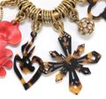Christian Lacroix CHRISTIAN LACROIX Bag Charm Red Brown Crystals Gold-Tone HW Image 3