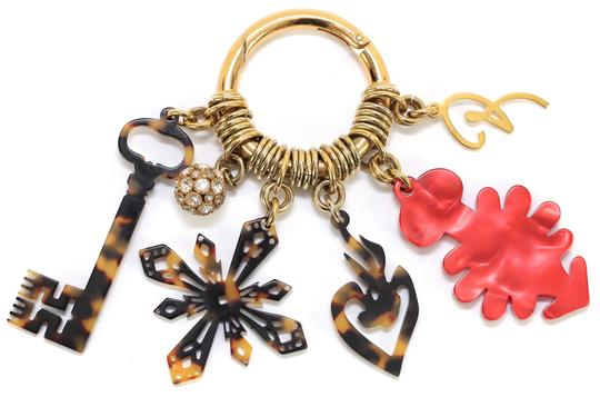 Christian Lacroix CHRISTIAN LACROIX Bag Charm Red Brown Crystals Gold-Tone HW Image 5