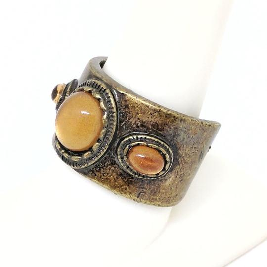 DeWitt's Vintage Bronze like Metal with Amber Colored Stones Ring Image 1