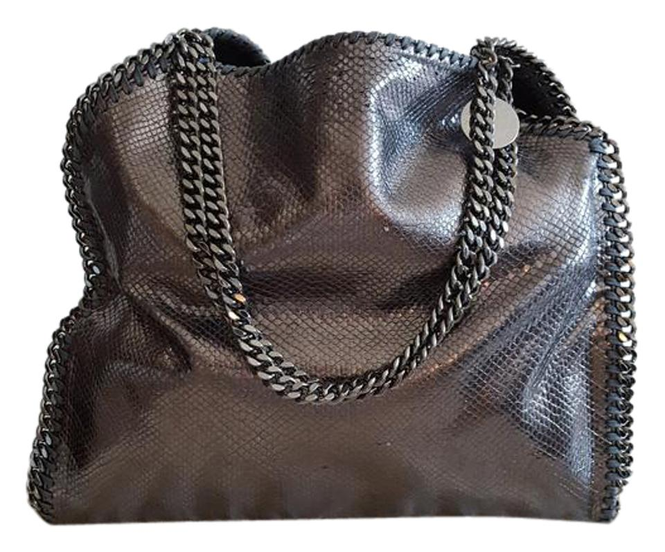 fdbbbd7762d7 Stella McCartney Falabella Gunmetal Metallic Croc Faux Leather ...