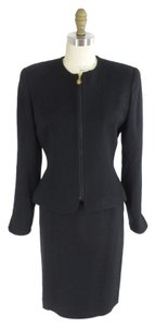 Dior CHRISTIAN DIOR Stunning Black Worsted Wool Suit Jacket & Pencil Skirt