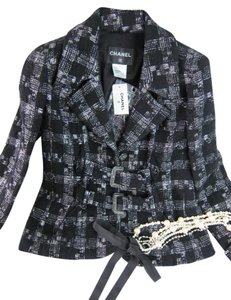 Chanel Chanel 09 A Suit Jacket Black with Silver Line FR 42