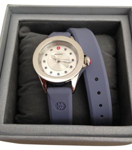 Michele Silver/Lavender jelly bean small case double wrap watch