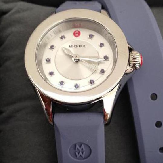 Michele Silver/Lavender jelly bean small case double wrap watch Image 2