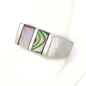 DeWitt's Unique Mexican Ring Silver Toned Metal with Genuine Mother of Pearl