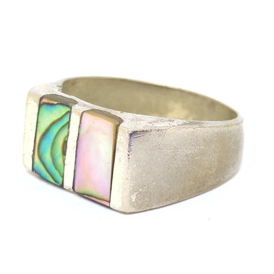 DeWitt's Unique Mexican Ring Silver Toned Metal with Genuine Mother of Pearl Image 4