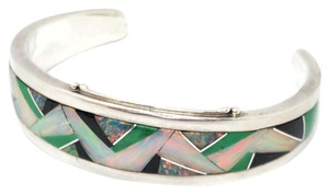 DeWitt's GL Designed Sterling Silver Cuff with inlaid Colored Stone