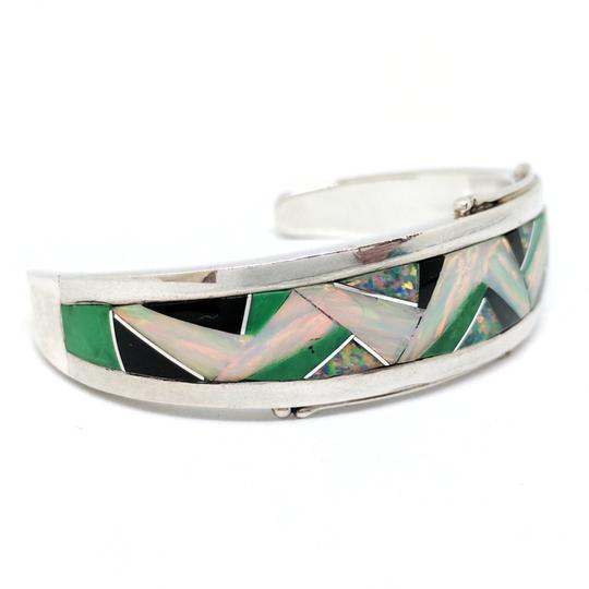 DeWitt's GL Designed Sterling Silver Cuff with inlaid Colored Stone Image 2