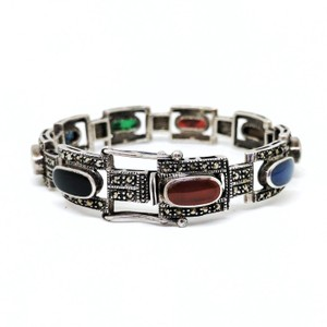 DeWitt's Vintage Sterling Silver Bracelet with Marcasite and Colored Stones