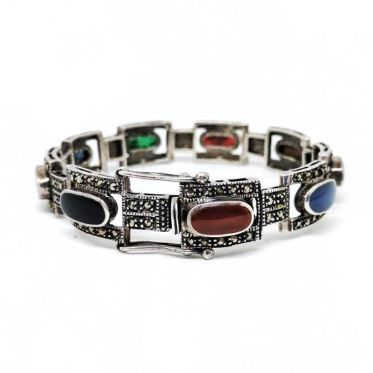 Preload https://img-static.tradesy.com/item/21343566/vintage-sterling-silver-with-marcasite-and-colored-stones-bracelet-0-0-540-540.jpg