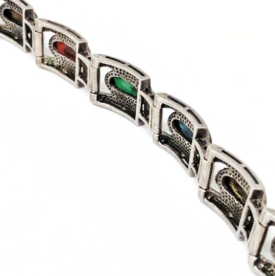 DeWitt's Vintage Sterling Silver Bracelet with Marcasite and Colored Stones Image 2