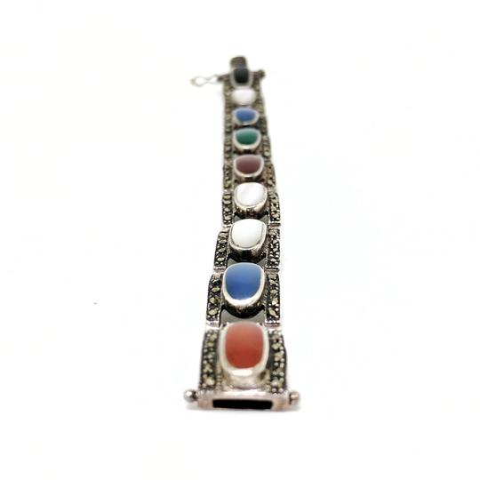 DeWitt's Vintage Sterling Silver Bracelet with Marcasite and Colored Stones Image 3