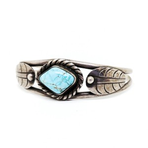 DeWitt's Gorgeous Vintage Sterling Silver Cuff Bracelet with a Turquoise Stone