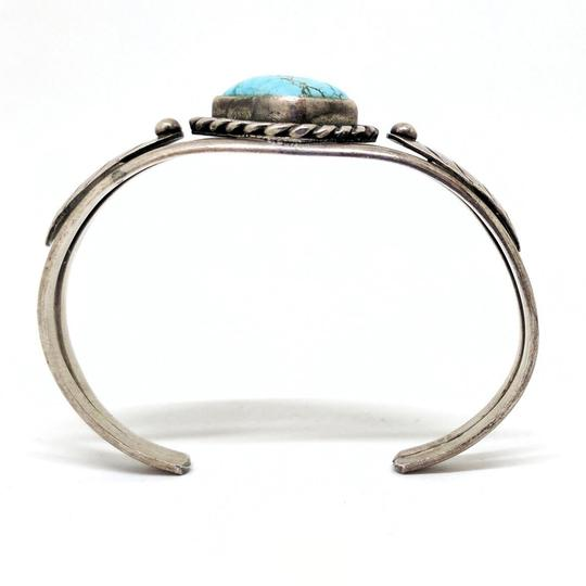 DeWitt's Gorgeous Vintage Sterling Silver Cuff Bracelet with a Turquoise Stone Image 1