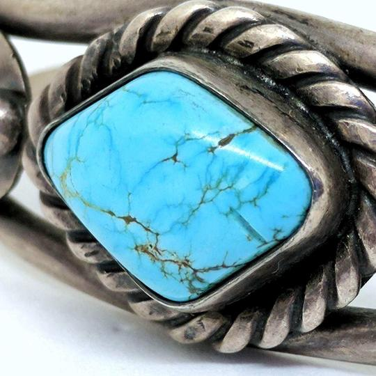 DeWitt's Gorgeous Vintage Sterling Silver Cuff Bracelet with a Turquoise Stone Image 3