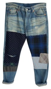 Junya Watanabe Patchwork Cropped Boyfriend Cut Jeans-Distressed