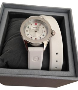 Michele Silver/White jelly bean small case double wrap watch