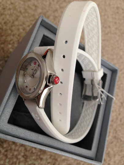 Michele Silver/White jelly bean small case double wrap watch Image 1