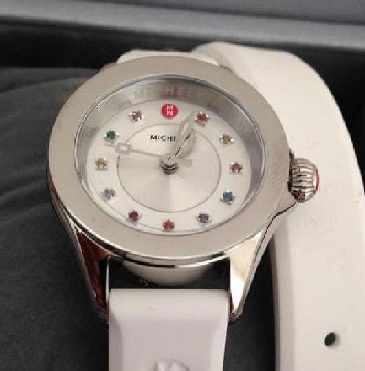 Michele Silver/White jelly bean small case double wrap watch Image 2