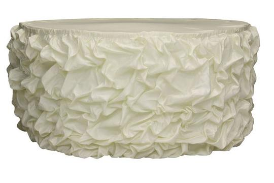 Ivory Lot Of 2 17ft Table Skirts Event Party Banquet Tablecloth Image 1
