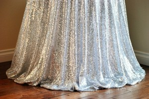 Silver Lot Of 2 120' Round Sequin Bling Glam Tablecloth