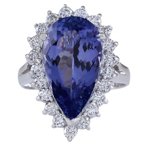Fashion Strada 7.26CTW Natural Tanzanite And Diamond Ring In 14K White Gold