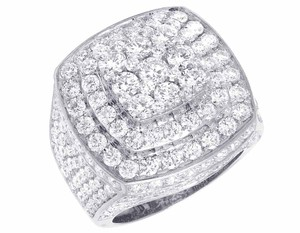 Jewelry Unlimited Men's 14K White Gold Genuine Diamond 3D Square Ring 8 4/5 CT 23MM