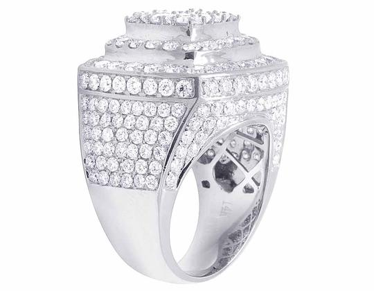 Jewelry Unlimited Men's 14K White Gold Genuine Diamond 3D Square Ring 8 4/5 CT 23MM Image 1