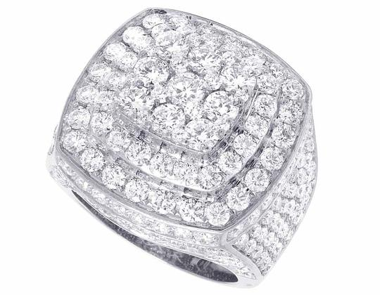 Jewelry Unlimited Men's 14K White Gold Genuine Diamond 3D Square Ring 8 4/5 CT 23MM Image 3