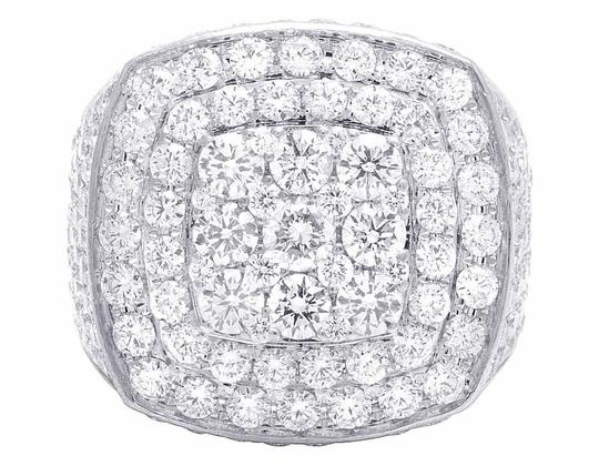 Jewelry Unlimited Men's 14K White Gold Genuine Diamond 3D Square Ring 8 4/5 CT 23MM Image 4
