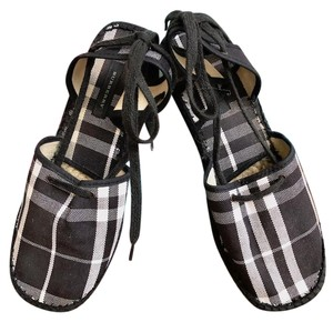 Burberry Check Canvas Espadrille Wedge Black Flats