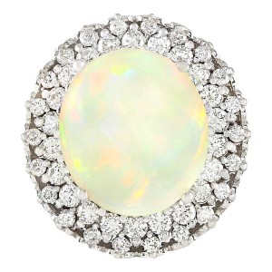 Fashion Strada 11.59 CTW Natural Opal And Diamond Ring In 14k White Gold