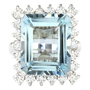 Fashion Strada 12.71 CTW Natural Aquamarine And Diamond Ring In 14K Solid White Gold