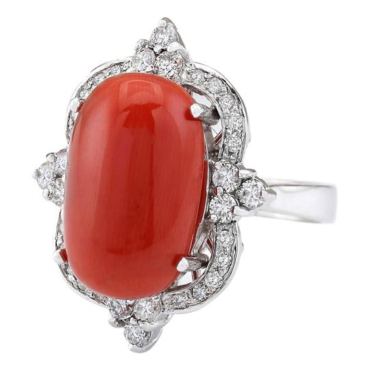 Fashion Strada 14.42 Carat Natural Coral 14K White Gold Diamond Ring Image 1
