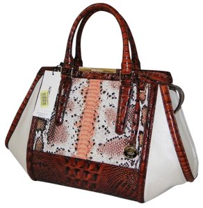Brahmin Arden Melon Fisher Python Emb Satchel in Multi Color