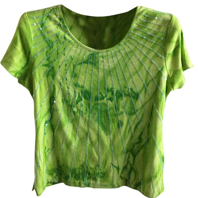 Preload https://img-static.tradesy.com/item/21344110/multiples-tie-dye-green-short-sleeves-shirt-blouse-size-10-m-0-1-650-650.jpg
