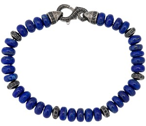 Stephen Webster Stephen Webster Men's Thorn 6mm lapis & pave sapphire beads braclet