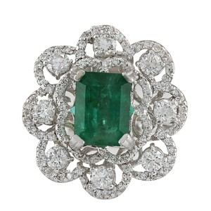 Fashion Strada 4.70CTW Natural Emerald And Diamond Ring In 14K White Gold