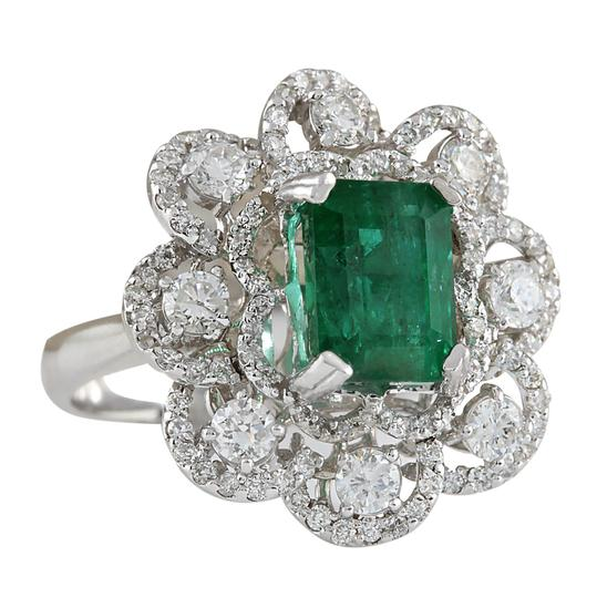 Fashion Strada 4.70 Carat Natural Emerald 14K White Gold Diamond Ring Image 1