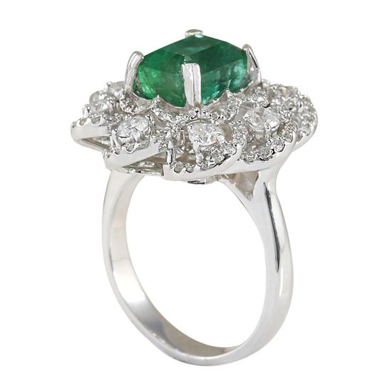 Fashion Strada 4.70 Carat Natural Emerald 14K White Gold Diamond Ring Image 2