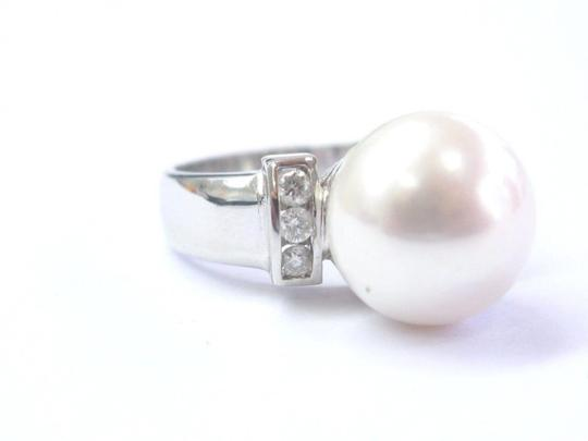 custom 18Kt Pearl & Diamond White Gold Ring & Earrings Jewelry Set 12mm .50Ct Image 1
