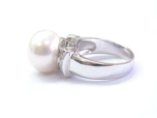 custom 18Kt Pearl & Diamond White Gold Ring & Earrings Jewelry Set 12mm .50Ct Image 2