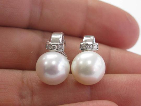 custom 18Kt Pearl & Diamond White Gold Ring & Earrings Jewelry Set 12mm .50Ct Image 4