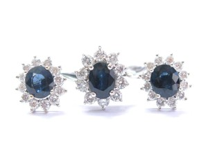 custom 18Kt Gem Blue Sapphire & Diamond White Gold Jewelry Set Earring & Ring