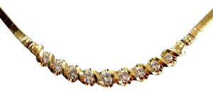 custom Fine Round Cut Diamond Yellow Gold Tension Setting Necklace 9-Stones 1