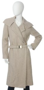 Chanel Ch.ej0429.04 Tan Belted Metallic 99a Trench Coat