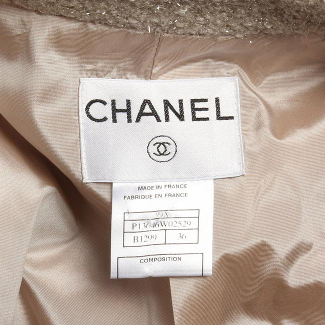Chanel Ch.ej0429.04 Tan Belted Metallic 99a Trench Coat Image 7