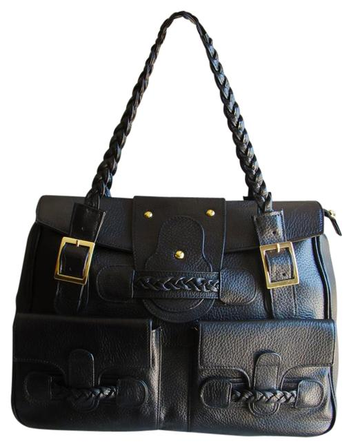 Pebbled Collection Style 4967 Large Black Leather Tote Pebbled Collection Style 4967 Large Black Leather Tote Image 1