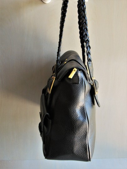 MUSKA MILANO Bags Lg Leather Designer Bags Pebbled Leather Blk Tote in Black